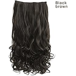 "REECHO 20"" 1-Pack 3/4 Full Head Curly Wave Clips in on Synthetic Hair Extensions Hairpieces for Women 5 Clips 4.6 Oz per Piece - Black brown"