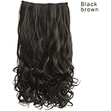 """REECHO 20"""" 1-Pack 3/4 Full Head Curly Wave Clips in on Synthetic Hair Extensions Hairpieces for Women 5 Clips 4.6 Oz per Piece - Black brown"""