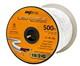 18AWG Low Voltage LED Cable, 3 Conductor, Outdoor Rated, Jacketed In-Wall Speaker Wire UL/cUL Class 2, Sunlight Resistant (500ft)