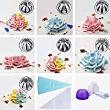 Russian Piping Tips 19PCS Bakers Kit,Set for Cake/Cupcake Decorating | 7 Russian Tips, 10 Disposable Pastry Bags, 1 Coupler, 1 Reusable Silicone Pastry Bag, E-book,by Mooker (Purple)