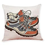TiTCool Pillow Covers, Color Sketch Shoes Style Home Bar Sofa Decorative Cotton Linen Cushion Cover 18 x 18 (D)