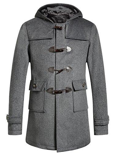 SSLR Men's Woolen Blend Hooded Toggle Coat (Medium, (Toggle Coat)
