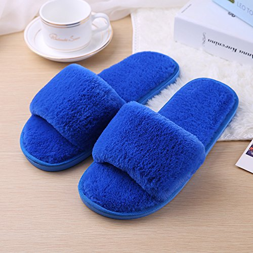 Cartoon Blue Plush Autumn 1 Winter And Ladies Eastlion Slippers Style Shoes Floor Home Cute X4wOgq0