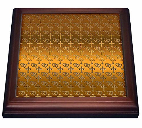 - 3dRose trv_35988_1 Small Gold Entwined Hearts and Cross on a Bright Brass Background Trivet with Ceramic Tile, 8 by 8