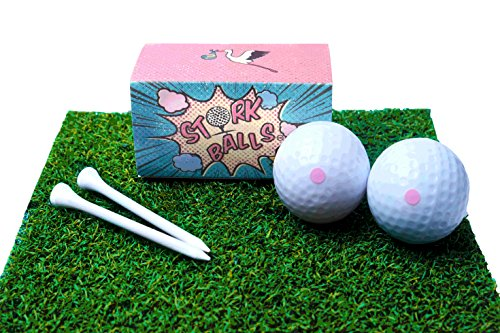 Gift Pack Balls Tees (PINK Gender Reveal Golf Balls Exploding - Gender Reveal Party for Golf Enthusiasts, Pack of 2 PINK Exploding Golf Balls, 2 Golf Tees Included!, Surprise Fun for Expecting Mom and Dad)