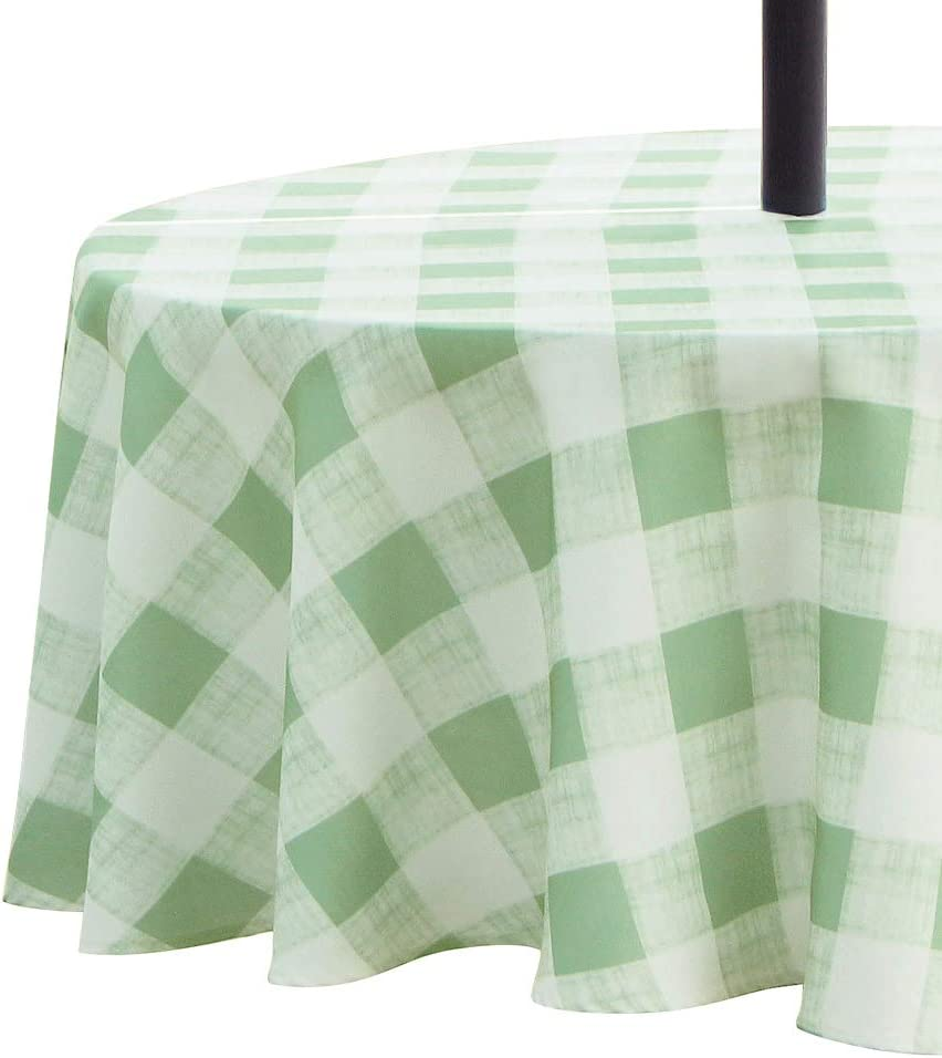 VCVCOO Outdoor Tablecloth Waterproof Spillproof Polyester Fabric Checked Table Cover with Zipper Umbrella Hole for Patio Garden Open Courtyards Tabletop Decor (60 Inch Round, Zippered, Green)