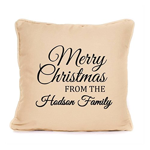 Personalised Christmas Cushion Gift 'Merry Christmas From Family Name' Perfect Gift Christmas Decoration