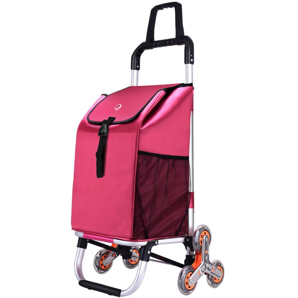 Xilinshop Portable Utility Carts Aluminum Alloy Shopping Cart Can Climb Stairs Shopping Cart Portable Folding Household Trailer ( Color : C )