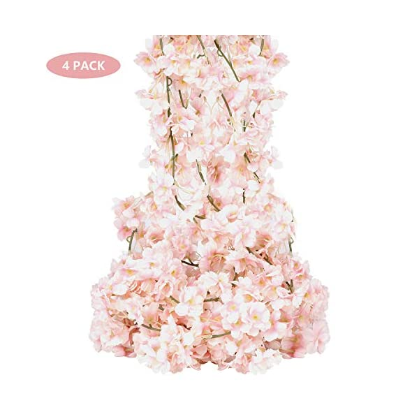 4pcs Artificial Flower Garland Silk Cherry Blossom Flowers Pink Hanging Vines for Wedding Party Home Decor