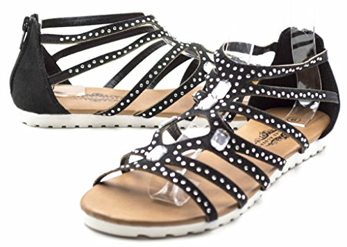 Womens Caged Suede Rhinestone Gladiator Back Zip Sandal Black SZVNQ