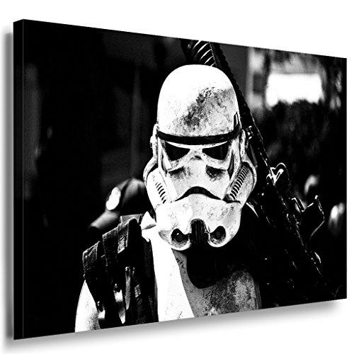 Star Wars Stormtrooper Leinwandbild LaraArt Bilder Schwarz-Weiss Wandbild 120 x 80 cm