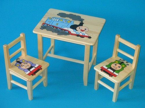 Set in legno tavolino con 2 sedie per cameretta bambini. M23. Ottima idea regalo.Completo in pino con disegno a mano. ipp