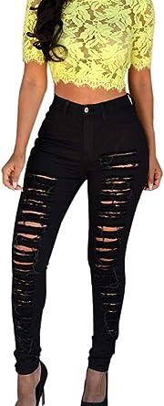 Luckygirls Pantalones Mujer Vaqueros De Rotos Negro Cintura Alta Originals Casual Pantalon Moda Slim Skinny Legging Elasticos Jeans Xl Negro Amazon Es Ropa Y Accesorios