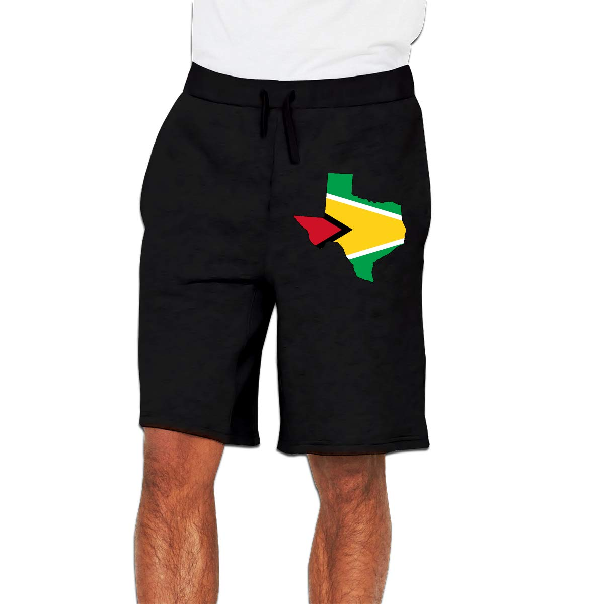 YDXC2FY Mens Boardshorts with Elastic Waist Drawstring Casual Sports Shorts Guyana Flag of Texas Map Patterned Swim Trunks