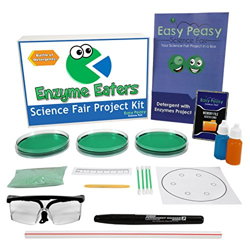 (Easy Peasy Science Fair Project Kit - Enzyme Eaters - Top Science Learning Kit -Simple and)