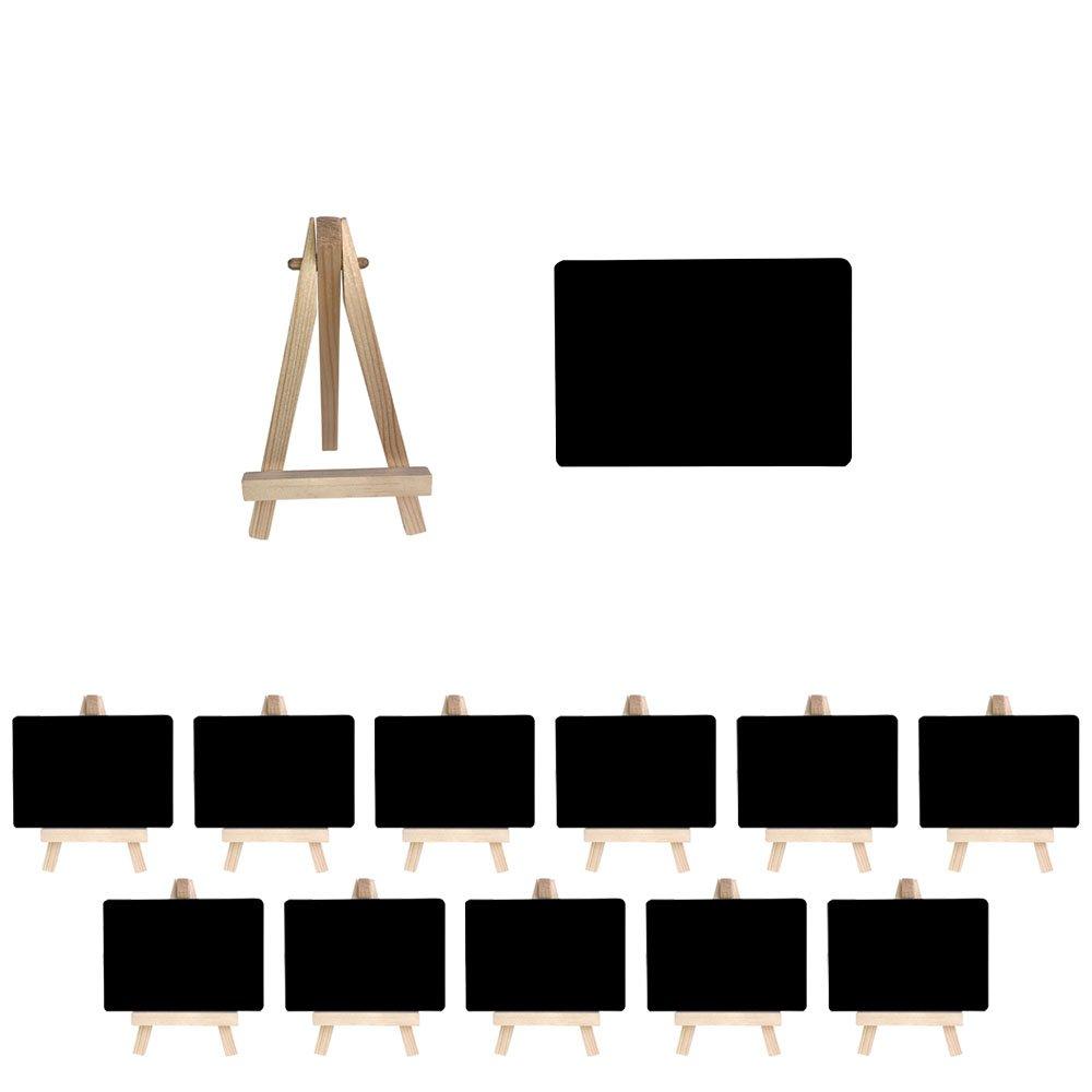 Mehrondo 12 Stück Staffelei mit Solider Kunststoff-Tafel ST107 Ideal für Namensschilder und Tischdekoration, Tafeln mit Glatter Oberfläche in Größe Din A7 (105 x 74 mm)