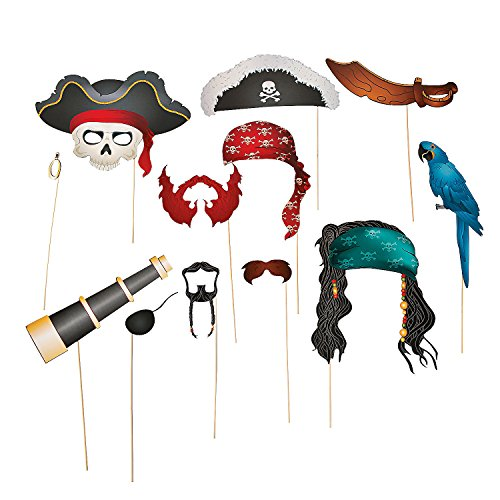 [Fun Express Pirate Photo Booth Props - 12 Pieces] (Pirate Theme Party Costumes)