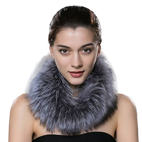 - URSFUR Women's Winter Warm Neck Fur Scarf Real Silver Fox Collar Fur Cowl