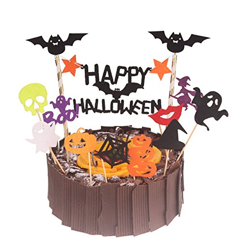 Zicome Halloween Cupcake Topper Halloween Party Cake Decor Food Picks, 12 Different Designs 23 (Halloween Decortions)