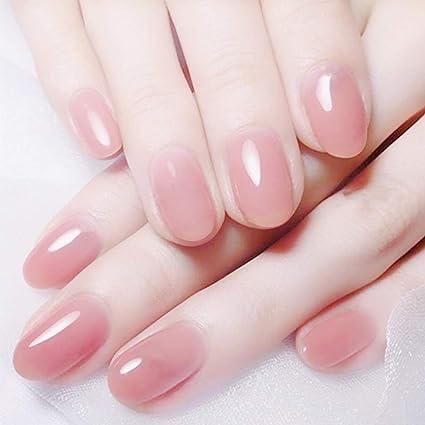 Jovono 24 uñas postizas de color rosa de cabeza redonda falsas ...