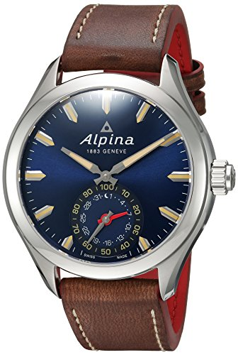 Alpina-Mens-HOROLOGICAL-Quartz-Stainless-Steel-and-Leather-Smart-Watch-ColorBrown-Model-AL-285NS5AQ6