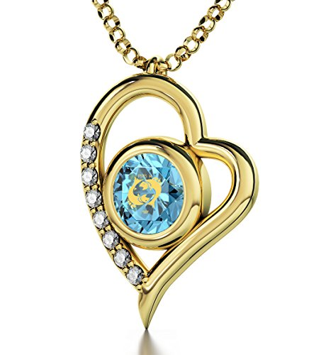 Gold Plated Zodiac Heart Pendant Pisces Necklace 24k Gold inscribed on Light Blue Crystal, 18'' by Nano Jewelry