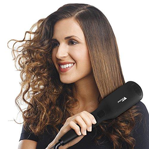 Amzdeal Cepillo alisador de cabello, profesional iónico 120 - 230 ℃, cepillo alisador de pelo con temperaturas ajustables, pantalla de temperaturas LED, ...