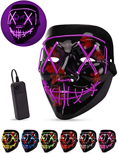 Coolest Halloween Masks (AnanBros Scary LED Halloween Mask, Masquerade Cosplay Light Up Face Mask for Men Women Kids)