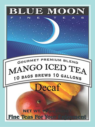 Blue Moon Iced Tea Bags - Mango Decaf Iced Tea 1 Gallon 10 Pack Caffeine Free No Sugar Added