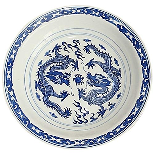 """LeBlue 7"""" Blue and White Porcelain Two Dancing Dragon Asian Chinese Pasta Salad Bowl Dinner Plate, Set of 2"""
