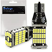 Safego 2pcs 1000 lumens Extremely Bright Canbus Error Free 921 912 T10 T15 SMD 4014 45pcs Chipsets LED Bulbs For Backup Reverse Lights, Xenon White 6000K CBT15-45D-4014W-2