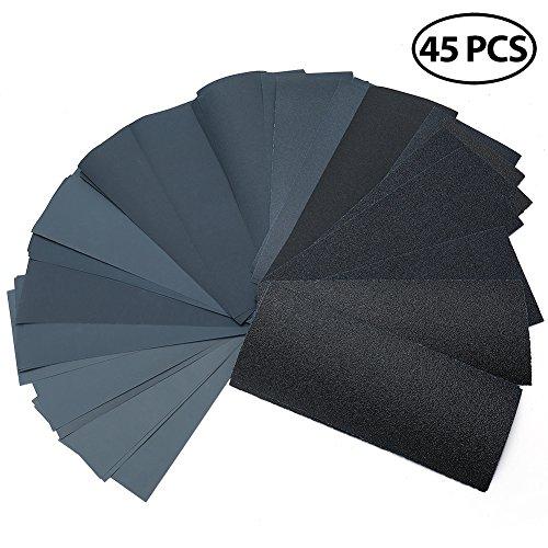 Assortment Metal (Dry Wet Sandpaper by LotFancy, 45PCS 9 x 3.6