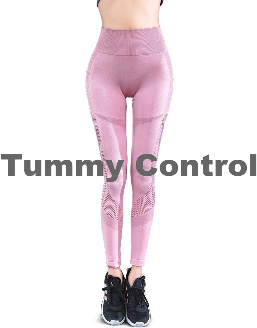 TINLUNG High Waist Yoga Pants with Tummy Control Hollow Out Design Fitness Workout Leggings Running Sports Gym Stretch Tights Trousers for Women