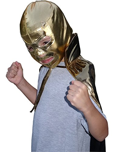RAMSES JR Lucha Libre Wrestling Mask & Cape Halloween Costume Set - Gold -