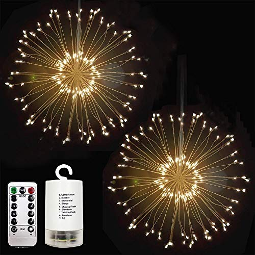 Outdoor LED Hanging String Light, Adpartner 2 Pack Latest Starburst Fairy Lights Waterproof 120 LEDs Twig Light for Halloween Christmas Seasonal Lighting Decorations, Dimmable 8 Modes - Warm White -