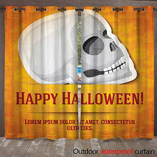 RenteriaDecor Home Patio Outdoor Curtain Happy Halloween Greeting Card with White Human Skull Sticker Cut W84 x -