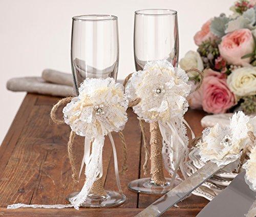 Lillian Rose Toasting Glasses (Lillian Rose Rustic Country Burlap Wedding Toasting Glasses)