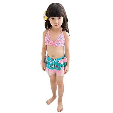 9ce360e46b660 Amazon.com: New Girls Halter Floral Lace Bow Skirt Bikini Set: Clothing