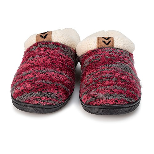 Image of Pupeez Girls Knitted Slippers; A Cozy Warm Fleece Lined Sweater Style Kids House Shoe