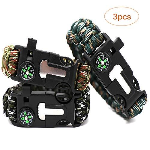 (Bigjia 3pcs Upgraded Paracord Bracelet, Survival Bracelets for Men/Boys/Kids/Scouts Compass/Fire Starter/Whistle Outdoor Camping Gear/Kit)