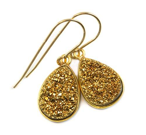 14k Gold Filled Drusy Earrings Golden Druzy Small Teardrop Bezel Set Simple (Bezel Golden Earrings)