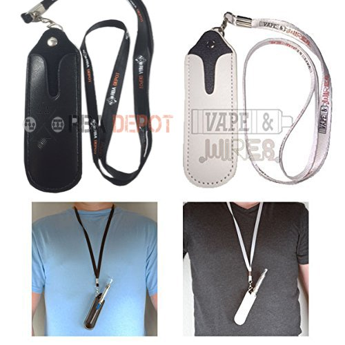 [Vape and Wires] Premium Faux Leather EGO Necklace Lanyard for eGo-t, eGo-w, eGo-c, eGo-F, eGo Twist, eCig- Carry Case in Black or White (Black)