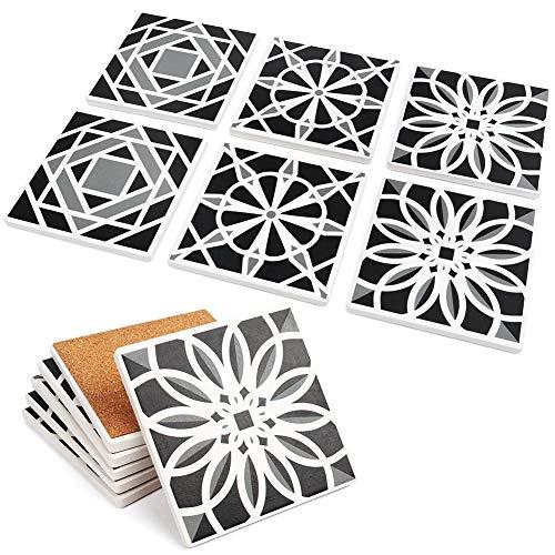 LotFancy 6PCS Absorbent Coasters, Square Ceramic Coasters with Non-Slip Cork Base, Bar Room Decor Housewarming Gift, 4