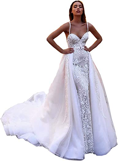 Amazon Com Iluckin 2 Pieces Princess Lace Appliques Women Bridal Ball Gown Wedding Dresses For Bride With Detachable Train Long Clothing,Wedding Dresses With Sleeves And Pockets