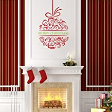 BIBITIME Merry Christmas Ball Wall Stickers Decal Removable Art Vinyl Home Kid Room Decor