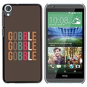 Gobble texto Alimentos minimalista de Brown - Metal de aluminio y de plástico duro Caja del teléfono - Negro - HTC Desire 820