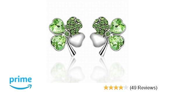 055e90f34 Amazon.com: World Pride Lucky Crystal Four Leaf Clover Stud Earrings:  Jewelry