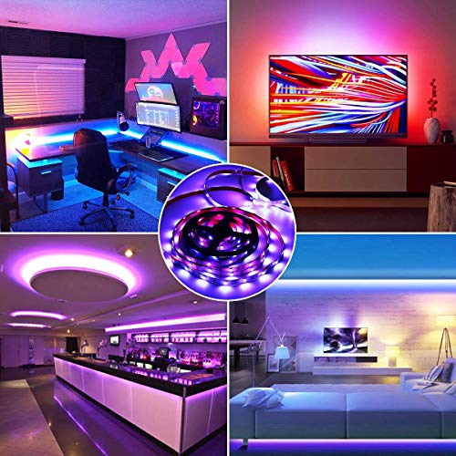 IKERY LED Strip Lights,Sync to Music RGB Light Strip 32.8ft IP65 Waterproof LED Light Strip Kit 300LEDs SMD 5050 Tape Lights Color Changing Light Strip with Remote Control and 12V Power Supply, Decoration for Home Bedroom Party