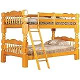 "Honey Oak Finish Wood 4½"" Posts Twin Size Convertible Bunk Bed"