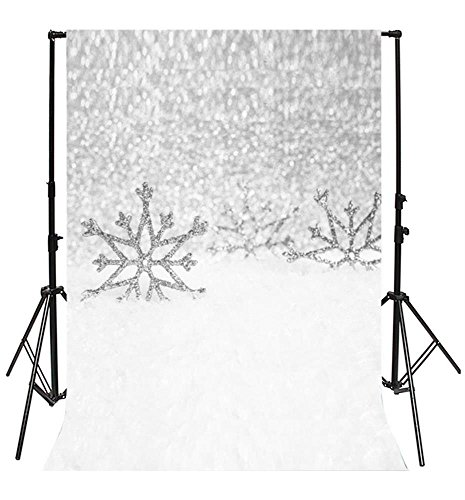 - Laeacco 5x6.5FT Vinyl Photography Backdrop Silver Metallic Glitter Sequins Dreamy Snowflakes Winter Romantic for Girls Lovers Chilren Adults Scene Photo Background Studio Props